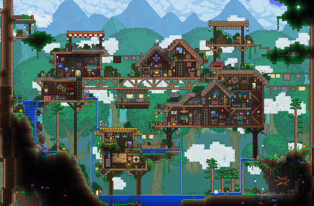 My Little Floating Village Inspired By Various Builders On Here Terraria Terraria Castle Terraria House Ideas Terraria House Design
