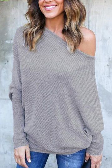 Lightweight Off Shoulder Bat Long Sleeves Loose Jumper In Dark Blue -  US 19.95 -YOINS b8cf2da9a