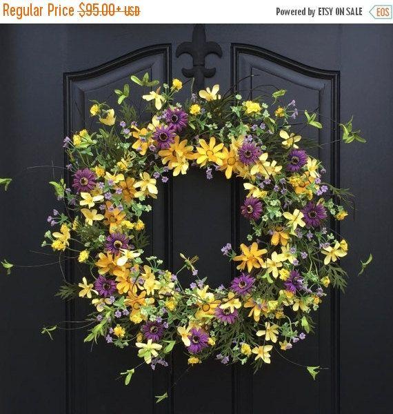 Spring Wreath Sale Spring Wreaths Yellow Daisy By Twoinspireyou
