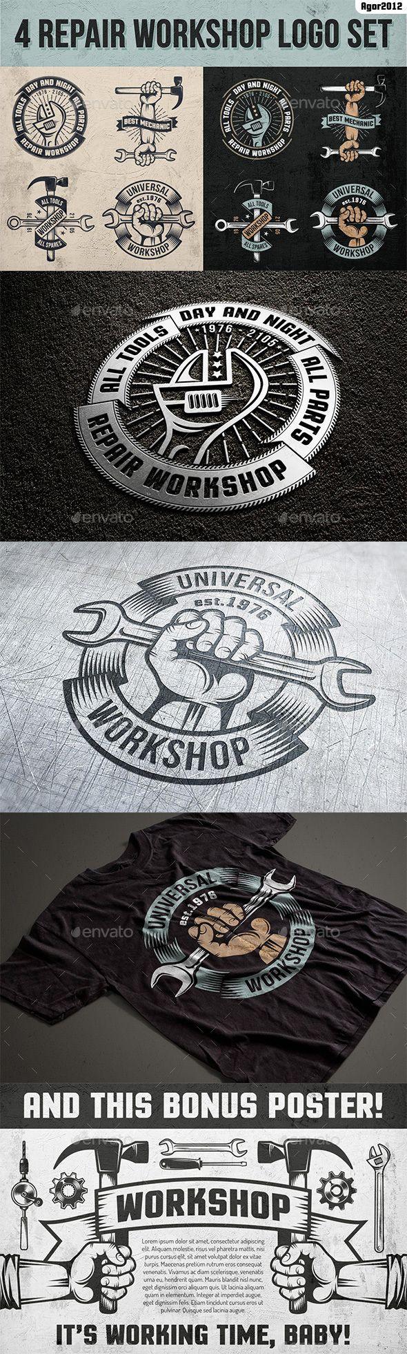 Repair Workshop Logo Set Decorative Symbols Decorative Vinyl