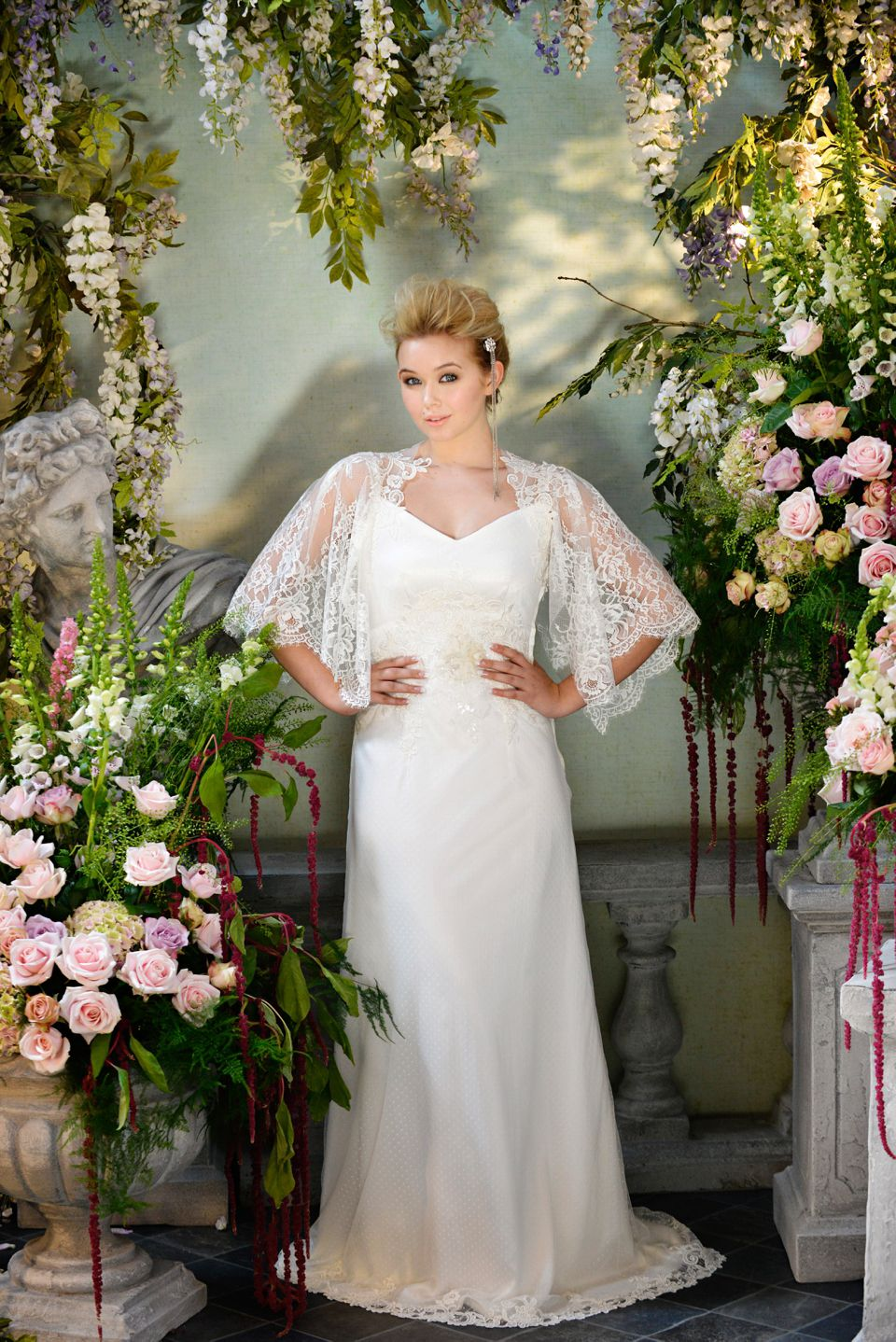 Silk wedding dress with kimono style lace sleeves, from The Siren ...