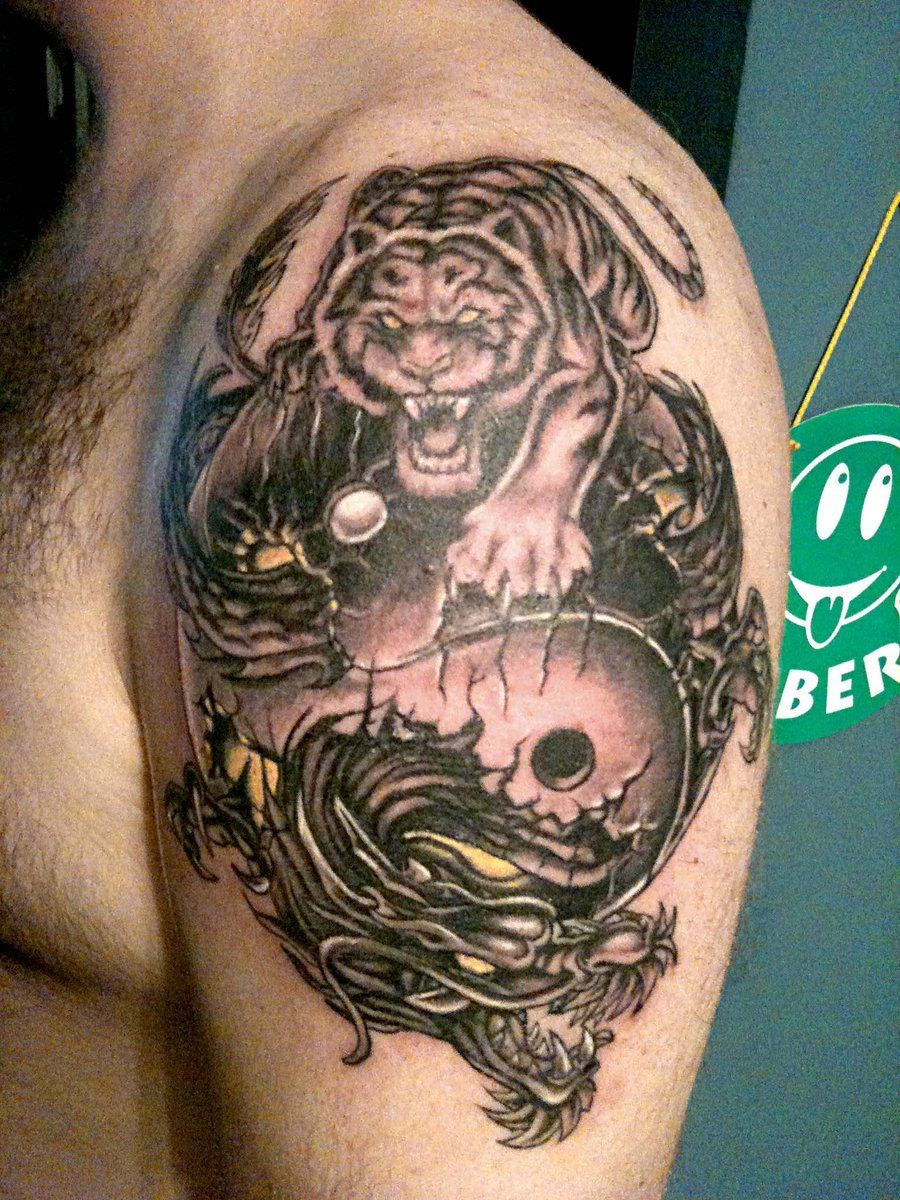 Tiger and Dragon Yin Yang Tattoo On Left shoulder | Yin Yang ...