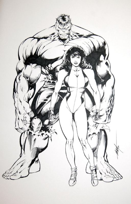 Hulk & She-Hulk - MC Wyman Comic Art