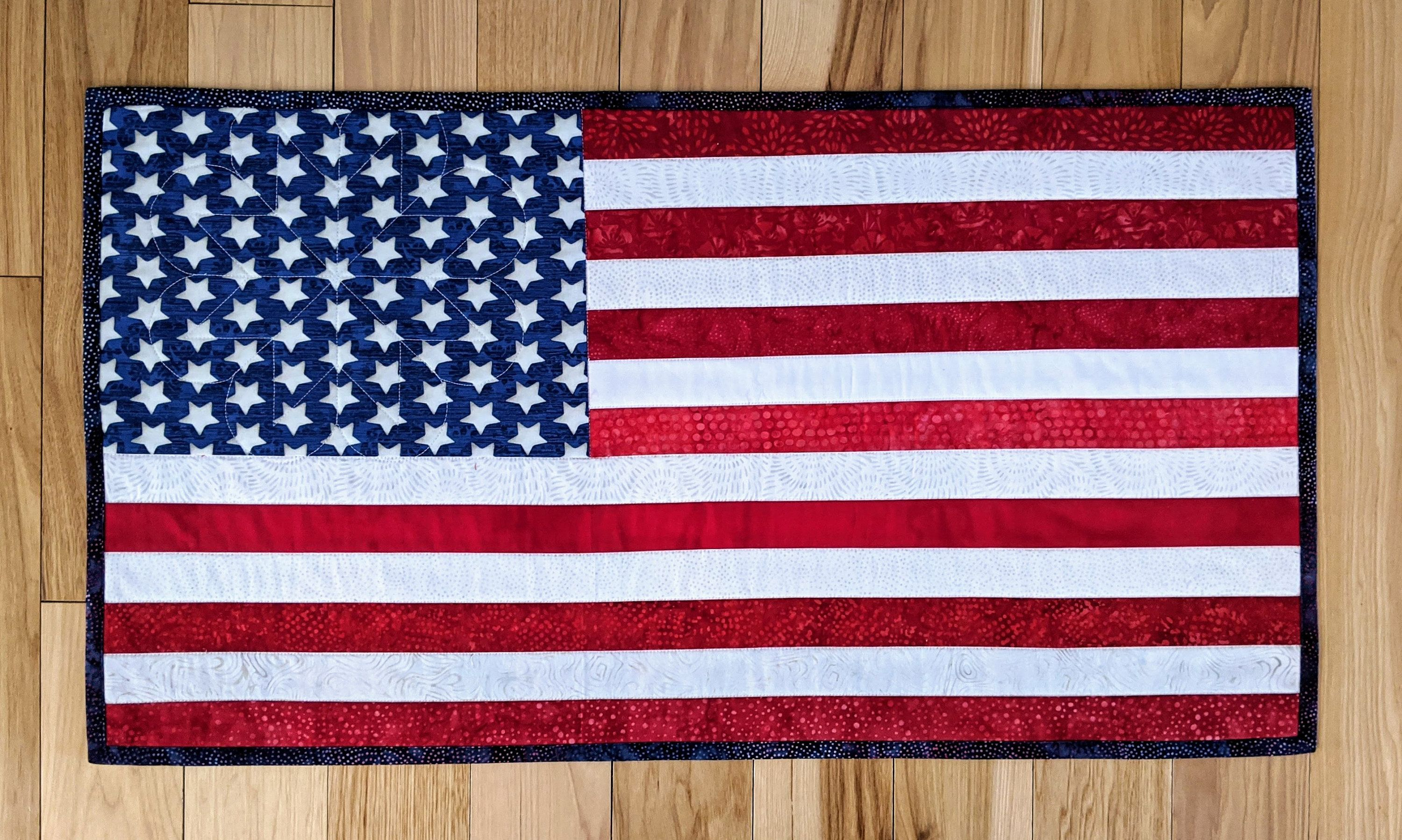 Quilted Table Runner Quilted Wall Hanging U S Flag Stars And Stripes Flag In 2020 Quilted Wall Hangings Quilted Table Runner Wall Hanging