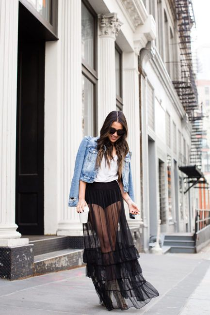 b39be9cf23833 Inside Out    High-waisted comfort   Sheer tulle skirt Outfit Day    Denim  Jacket
