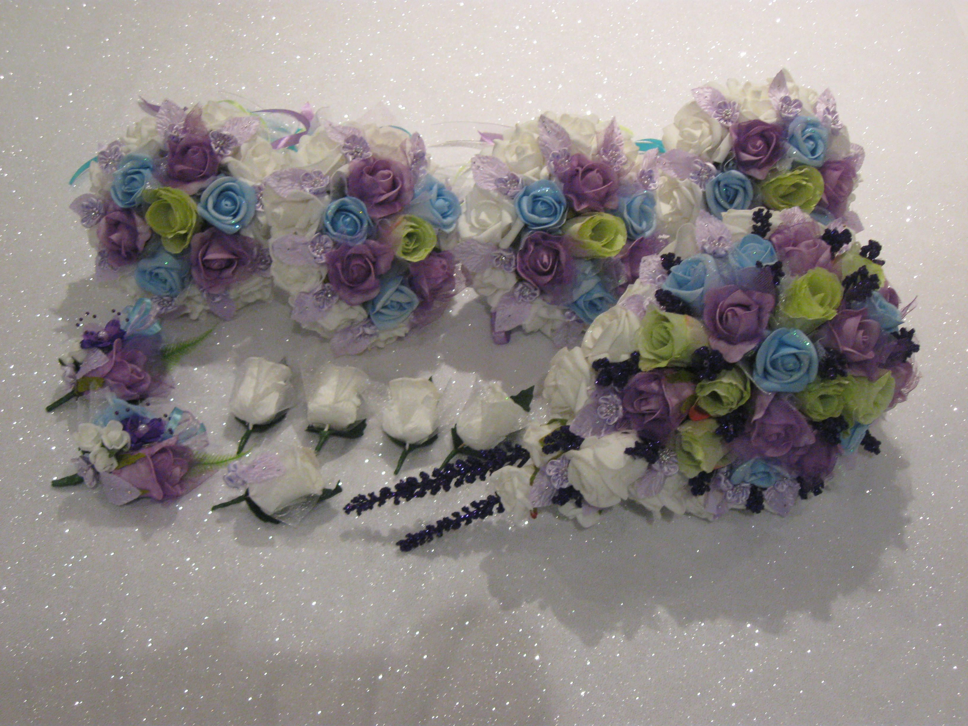 Image detail for -Blue, Purple, WHite & Green Rose Wedding Bouquets Set - Lavender