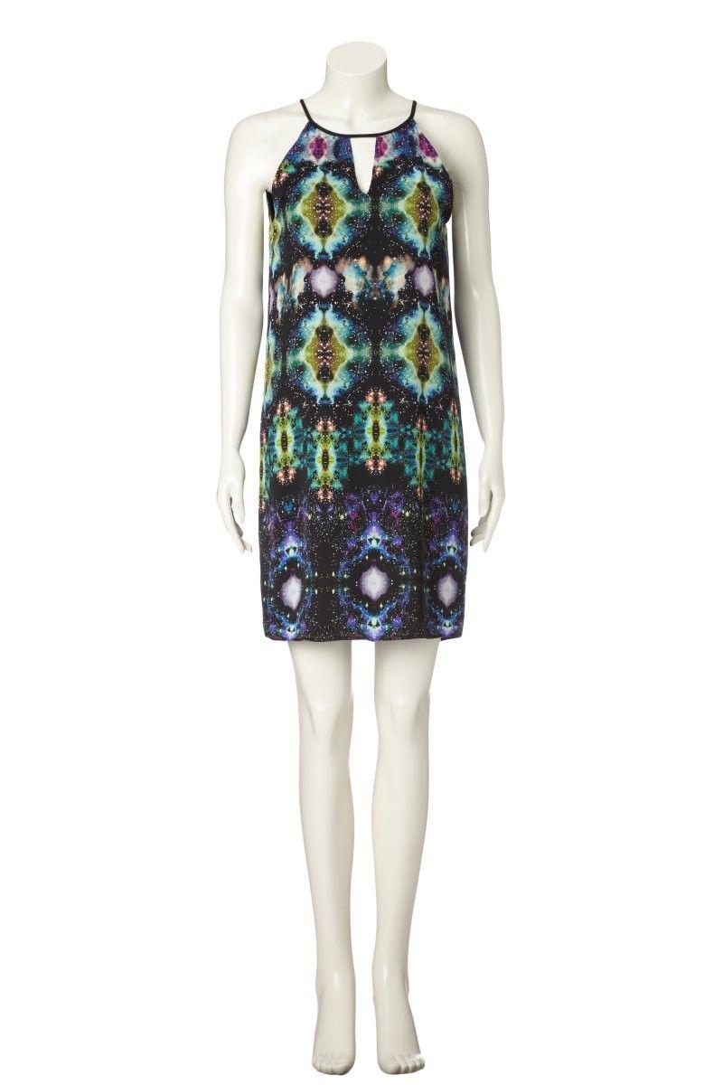 hab dieses kleid in live gesehen und finde es einfach großartig! ♥ HACH...Set Online-Shop - Kleid mit Universum-Print - Black Green - 0036333-0996