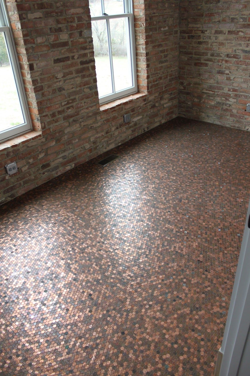 Trey always wanted a penny floor in his office and he for Unusual inexpensive flooring ideas