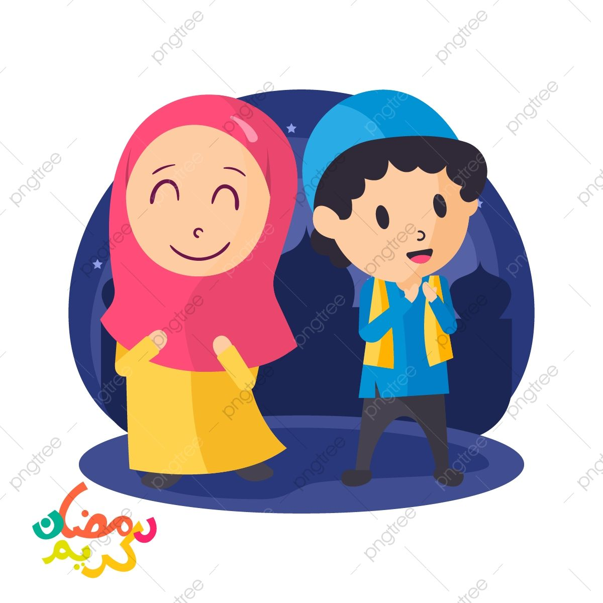 Vector Illustration Arabic Muslim Boy And Girl