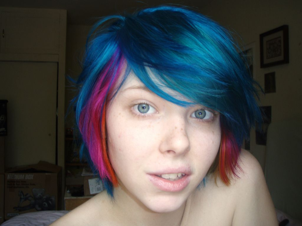 Blue pink and orange hair hair pinterest cabello trenzas and