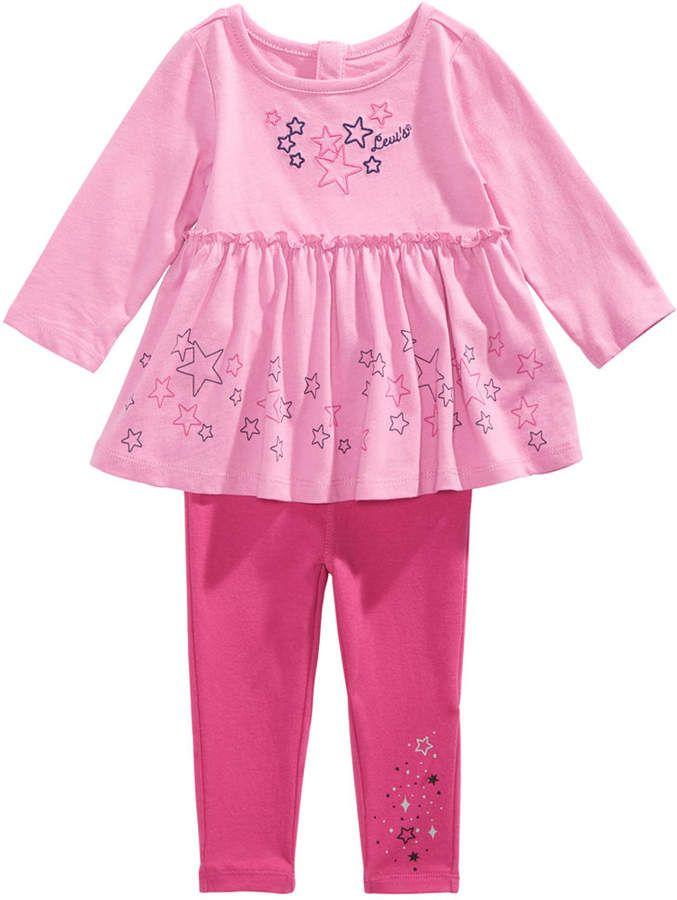 d05e9eda43fd Levi s Baby Girls 2-Pc. Cotton Star Tunic   Leggings Set - Pink 12 ...