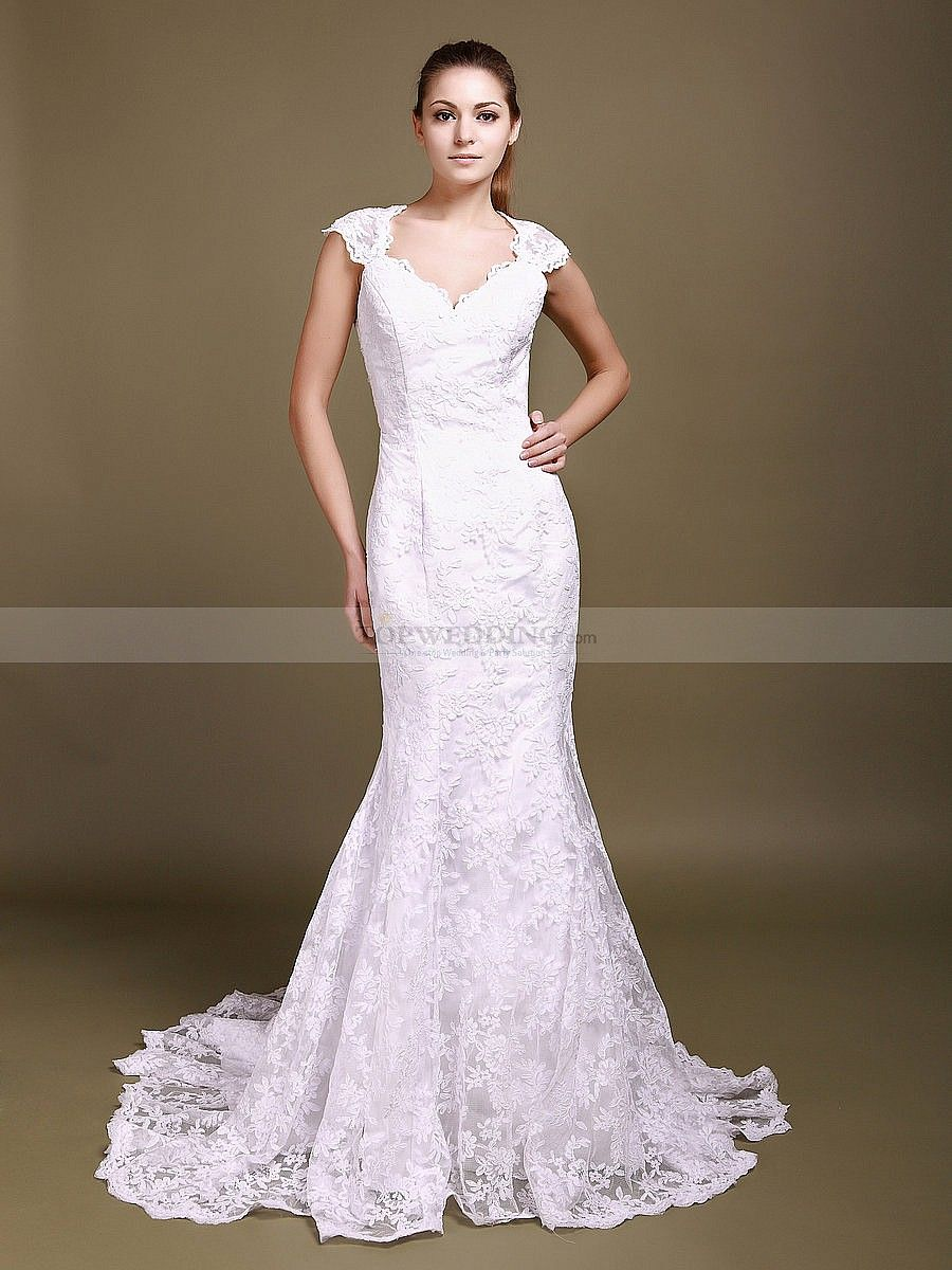 Exquisite D V Neck Ced Sleeves Trumpet Lace Wedding Dress