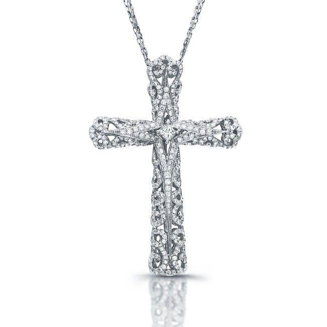Diamond Cross Filigree Design Pendant **-**