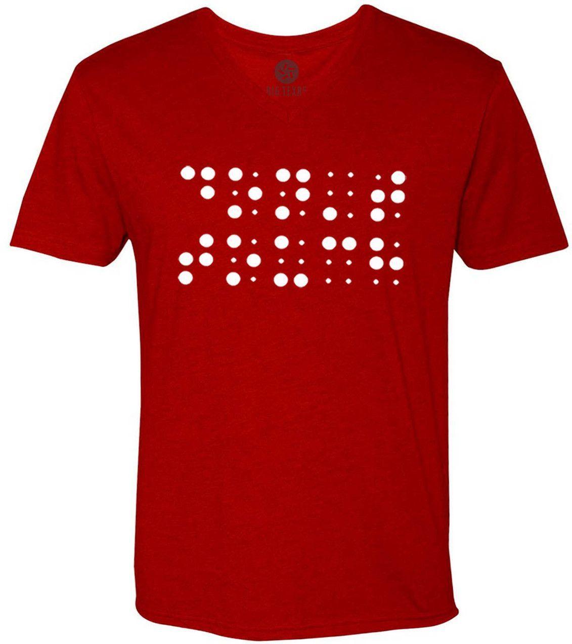 Dont Touch Braille (White) Short-Sleeve V-Neck T-Shirt