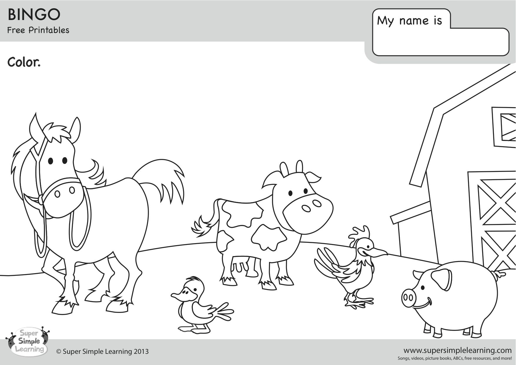 Bingo Coloring Page Coloring Pages Kids English Easy Coloring Pages