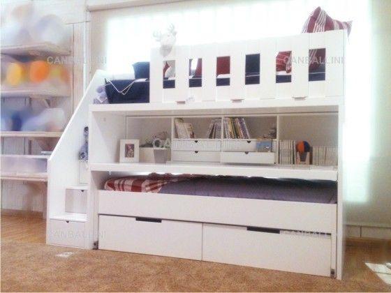 Litera con dos camas cajones escritorio extraible con - Cama nido con escritorio ...