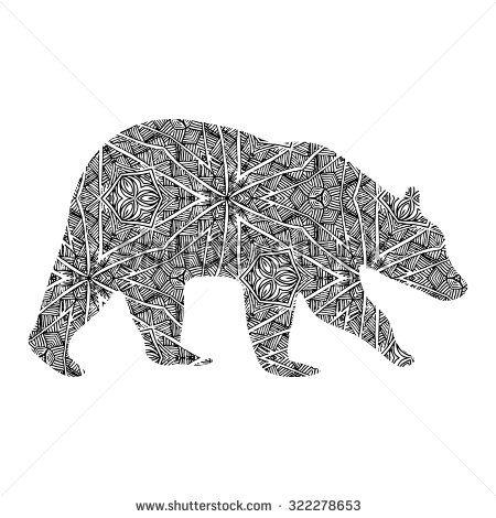Stock Vector Hand Drawn Bear Isolated On White Zentangle Style Vector Illustration Animal For Anti Stress 322278653 Jpg 450 470 Ayi Dovmeleri Ayi