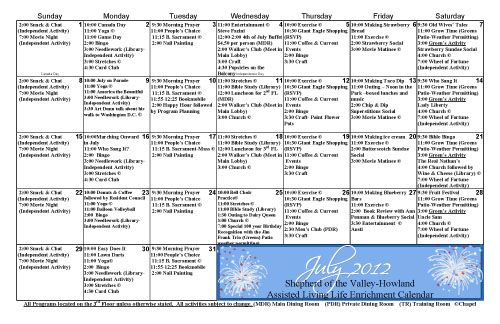 Howland Assisted Living Life Enrichment Calendar For July