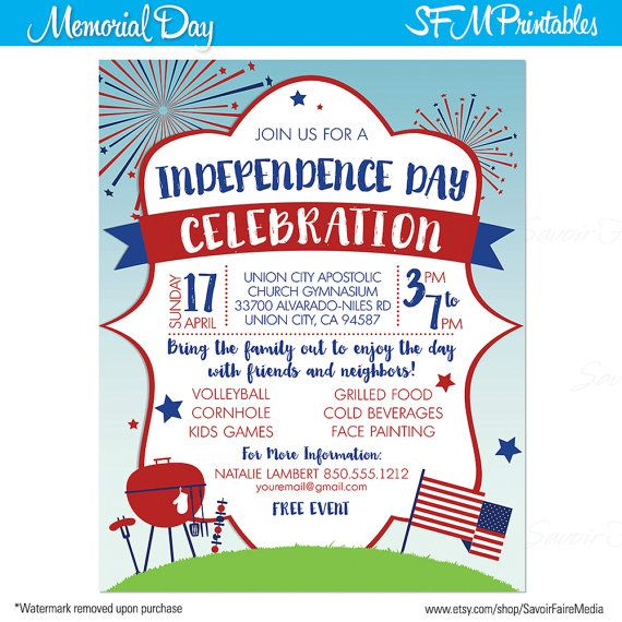 4th of July Celebration Firewoks Independence Day Invitation Poster ...