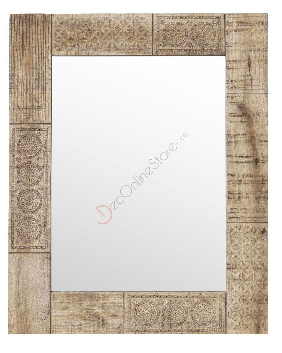 Specchio con cornice in legno di mango intarsiato e