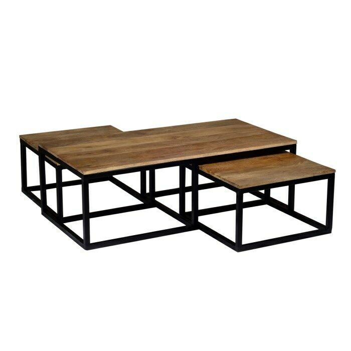 Details About Industrial Mango Nest Of Tables Coffee Table