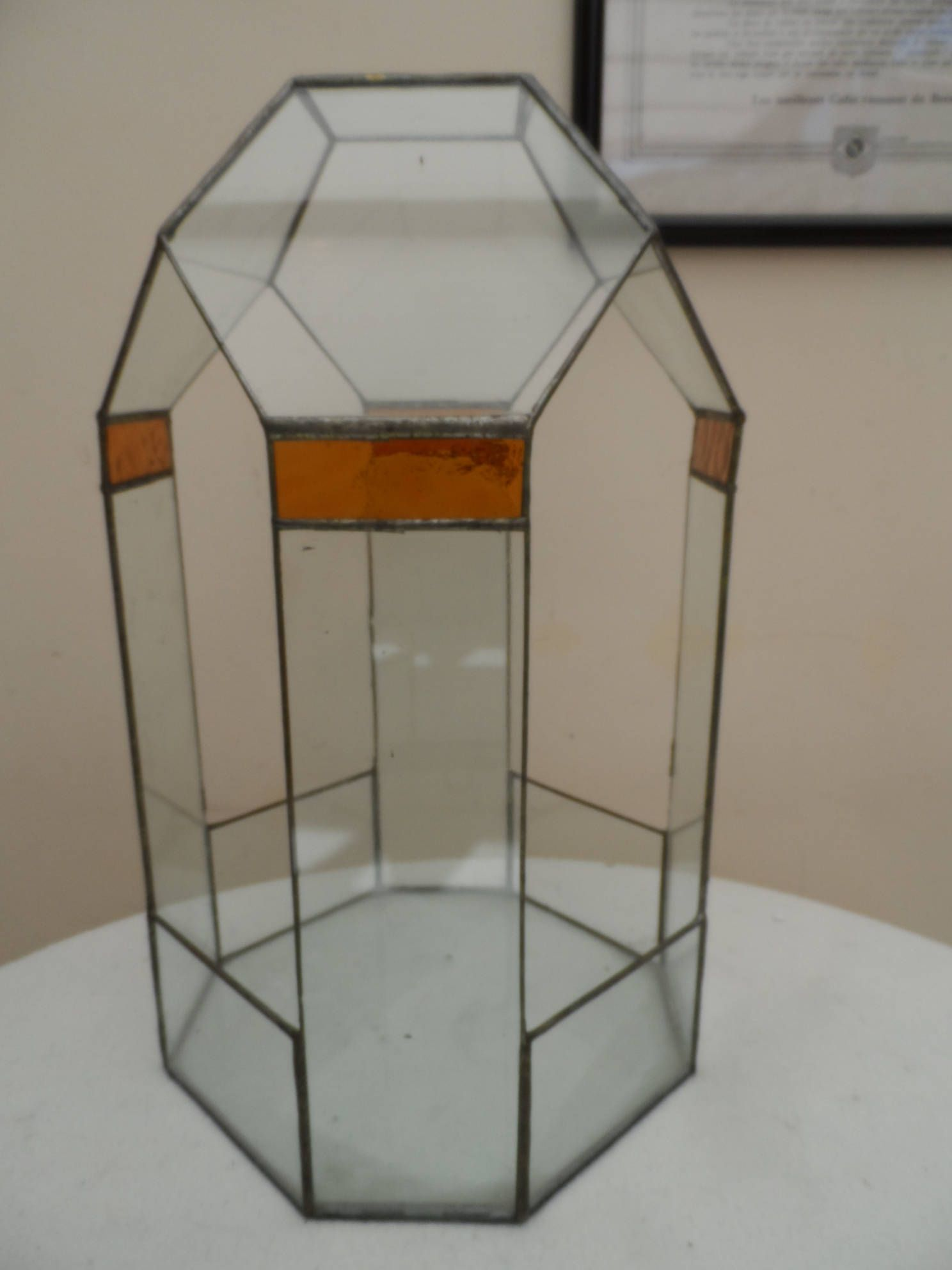 Coloured glass table tops - Large Lead Copper Terrarium Bottle Garden Hexagon Shaped Clear And Coloured Glass Table Top Display Circa 1970