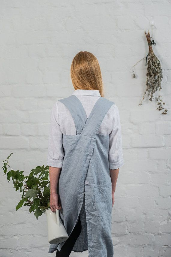 Pinafore / Square cross linen apron /japanese style apron. Washed long linen apron in bluish grey.