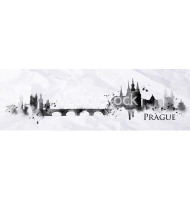 Silhouette ink prague vector 4174099 - by anna42f on VectorStock®