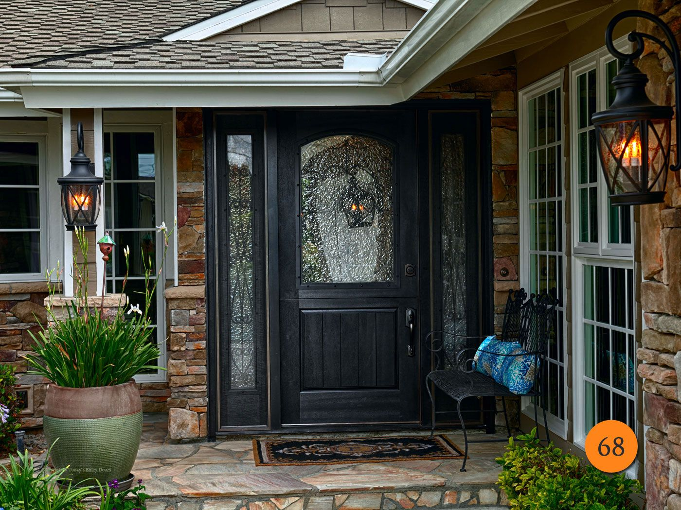 Rustic 36 X80 Plastpro Dra2a Fiberglass Dutch Entry Door With Operable Sidelights Installed In Rossm Entry Door With Sidelights Entry Doors Black Entry Doors
