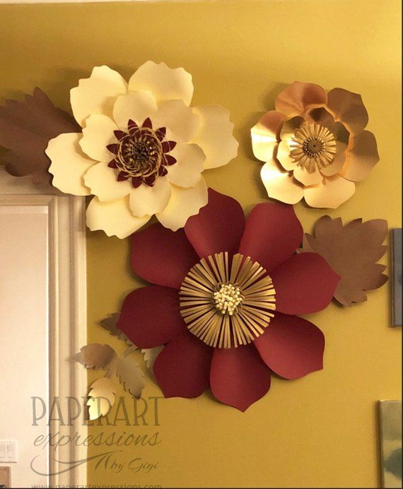 incredible 3d Flower Wall Decor Part - 13: Burgundy, beige and copper large paper flowers-Nursery decor-3D flowers  wall decor-Paper flower back