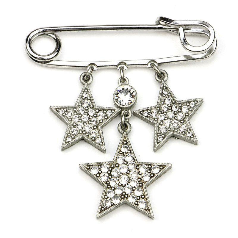 Rock Star Small Crystal Safety Pin Crystal stars