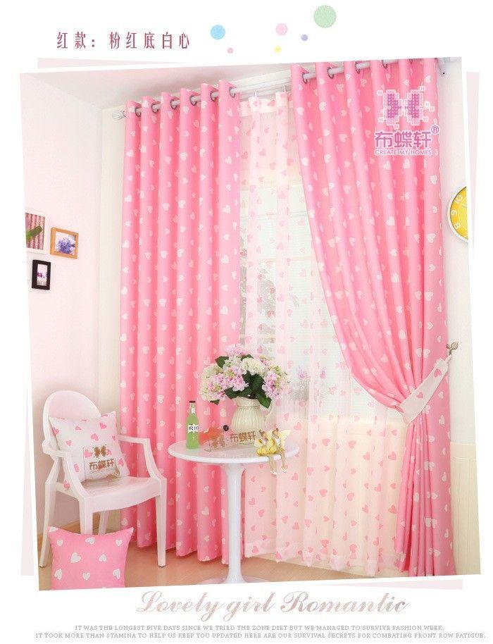 Goedkope Romantische Prinses stijl Roze Blackout/Sheer Gordijnen ...
