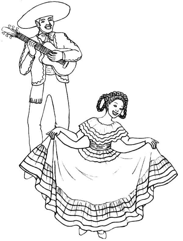 Little Mexican Girl Wearing Mexican Dress Coloring Pages Color