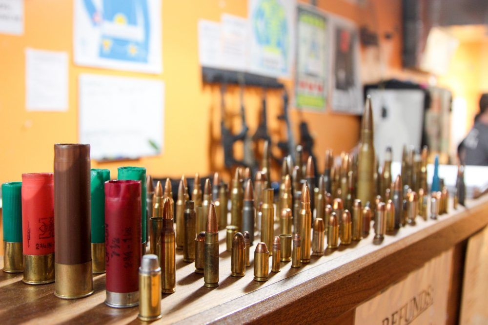 Bullets and shells on display at The Gun Range. (Dean Russell/Here & Now)