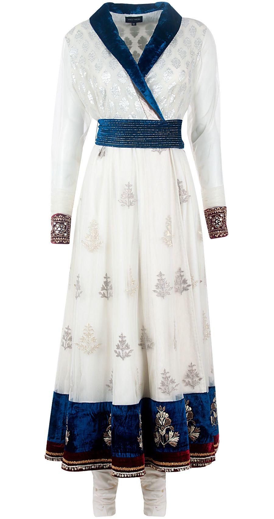 Ivory chanderi angrakha long dress set by anju modi shop at