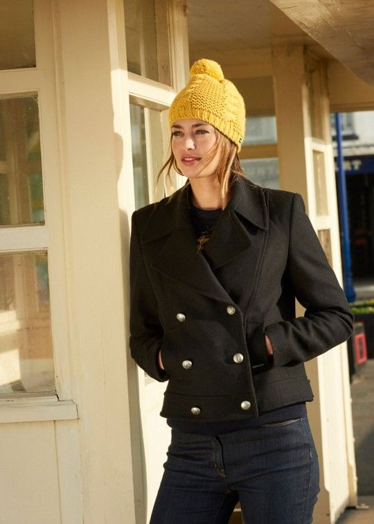 Women's Short Black Pea Coat | Double Breasted | Saint James ...