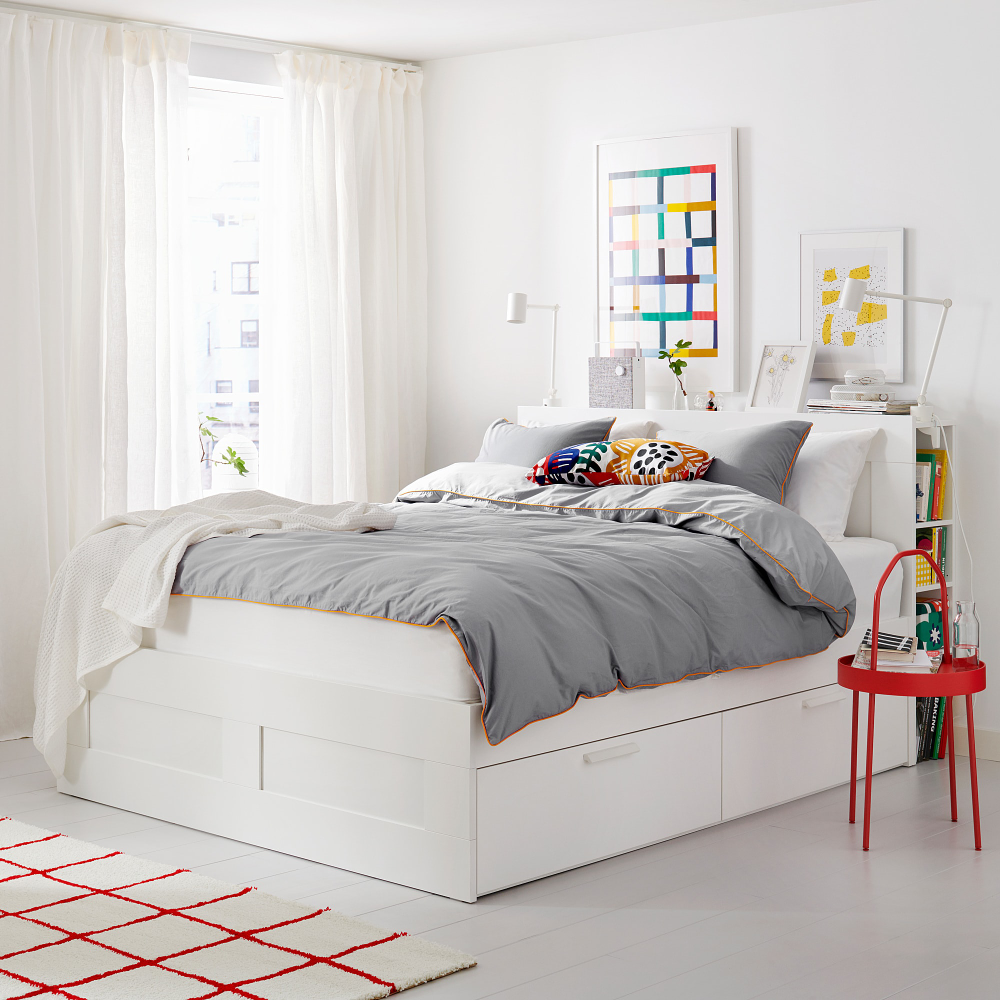 Brimnes Bedframe Met Opberger En Bedeinde Wit Luroy 140x200 Cm Ikea In 2020 Bed Frame With Storage White Bed Frame Headboard Storage