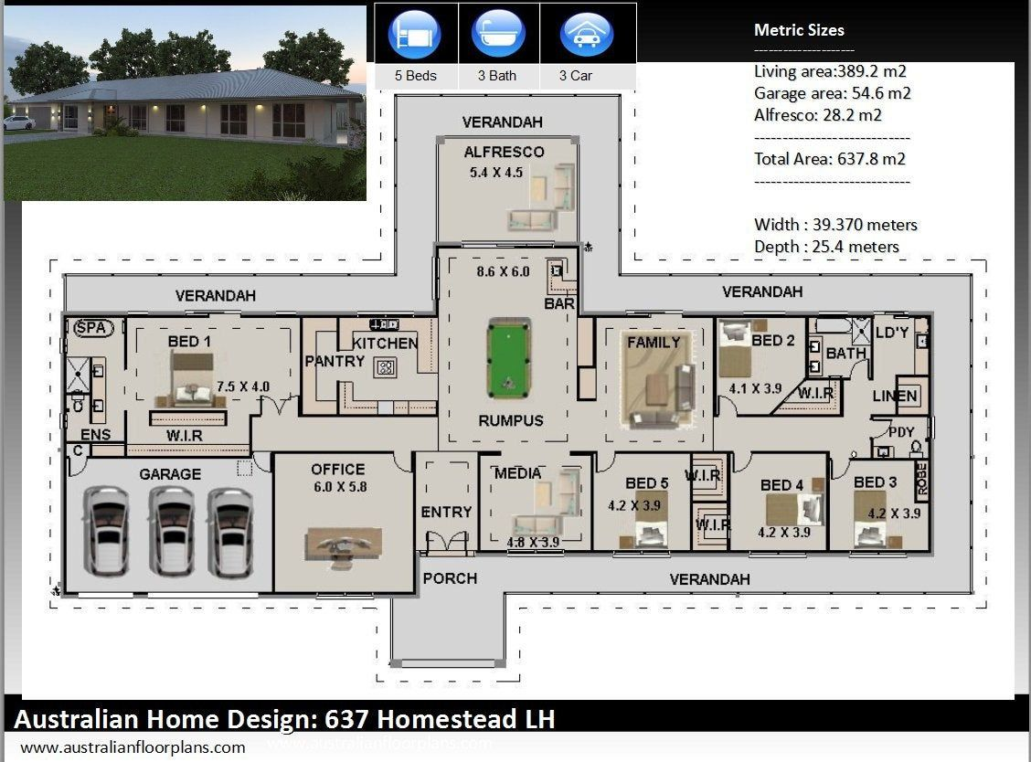 637m2 Construction Plans Free Modifications 5 Bedrooms Country Style Home Plans Country Hou Duplex House Plans Bedroom House Plans Ranch House Plans