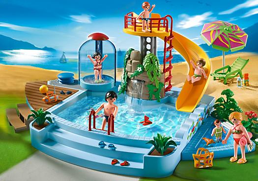 Pool With Water Slide Pm Usa Playmobil Usa Water Slides Playmobil Playmobil Sets