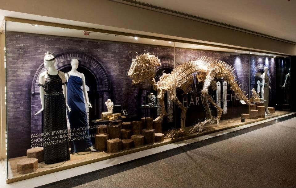 """Formed by hangers!! """"Museum of Dinosaurs"""" window display from Harvey Nichols, Hong Kong"""
