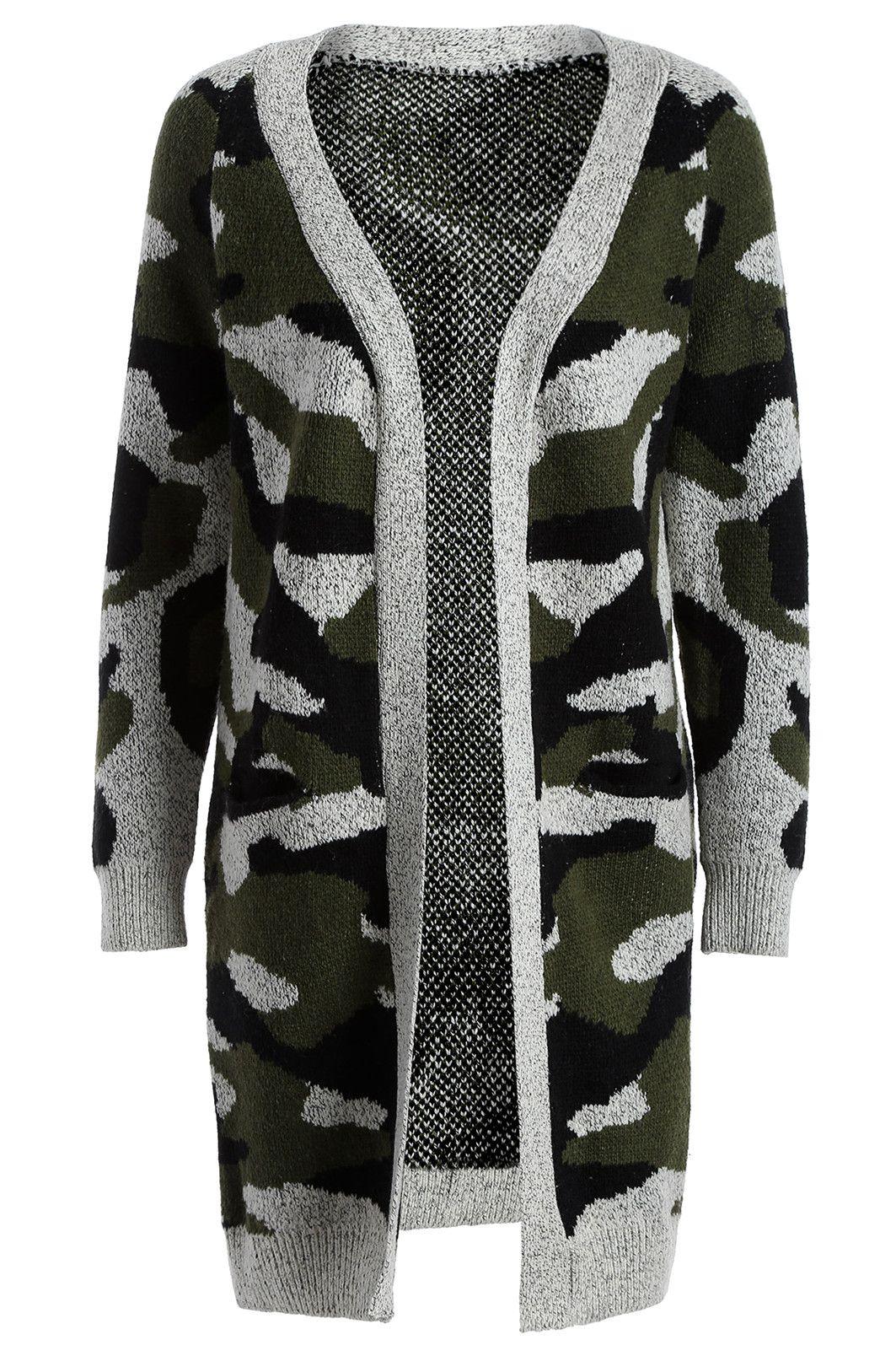 $19.86 Camo Print Long Knitted Cardigan | Fashion | Pinterest ...
