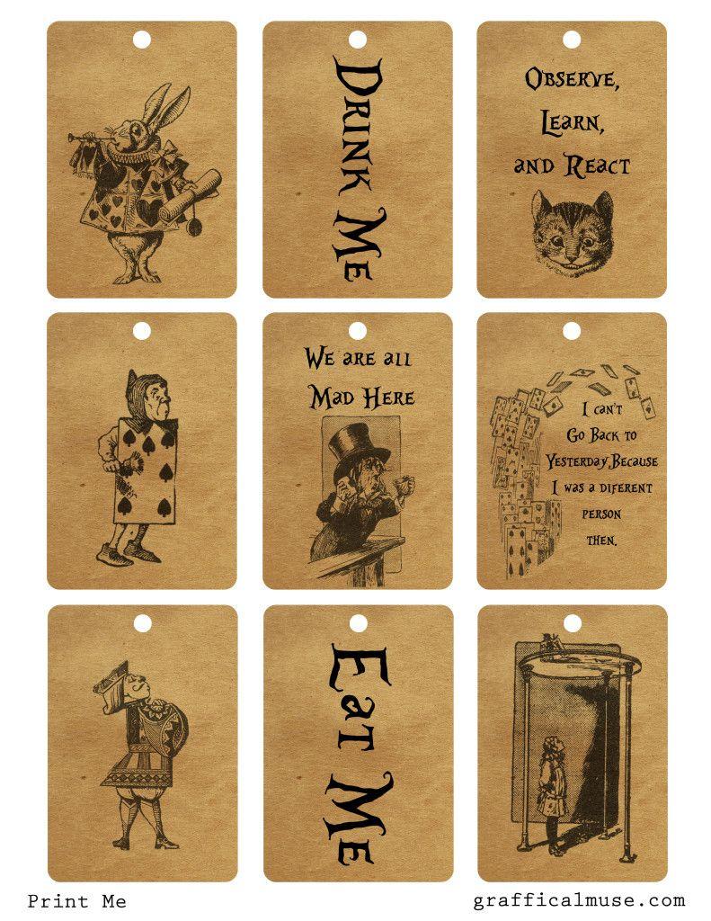 Free Vintage Alice In Wonderland Printable Tags The Graffical Muse Alice In Wonderland Tea Party Alice Tea Party Alice In Wonderland Party
