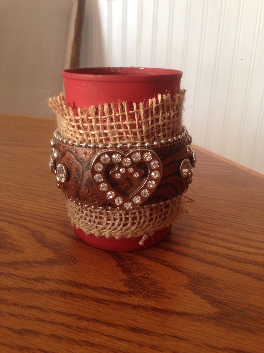 Soup can and western belt recycled makeup brushes have a