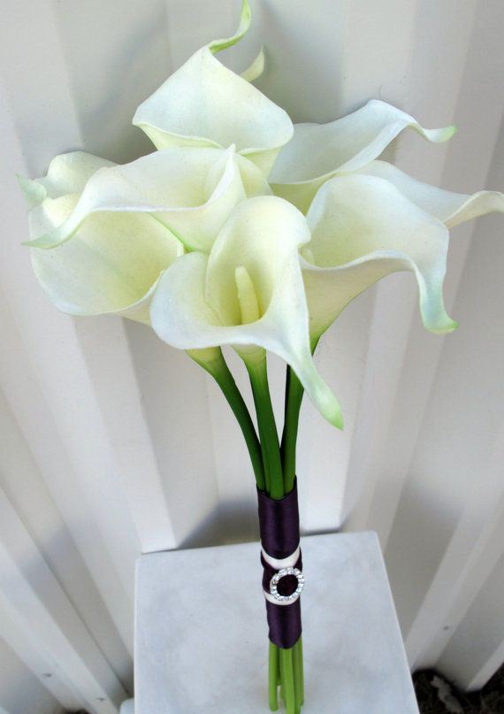 Calla Lily Wedding Bouquet White Plum Purple Real Touch Bridal Lily Bouquet Wedding Calla Lily Bouquet Wedding White Wedding Bouquets