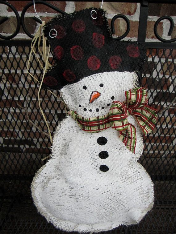 I'm planning ahead. It will be here before you know it. Christmas snowman burlap door hanger.