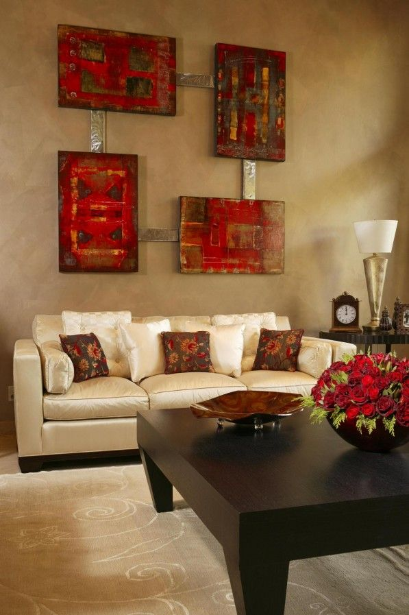 Living Room With Interface Reddish Tan | Interior Decoration Ideas:  Beautiful Cream Brown And Red