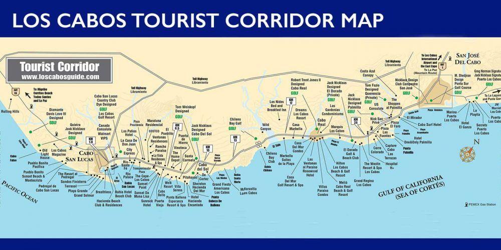 San Jose Del Cabo Mexico Map.Los Cabos Tourist Corridor Map Cabo San Lucas And San Jose Del Cabo