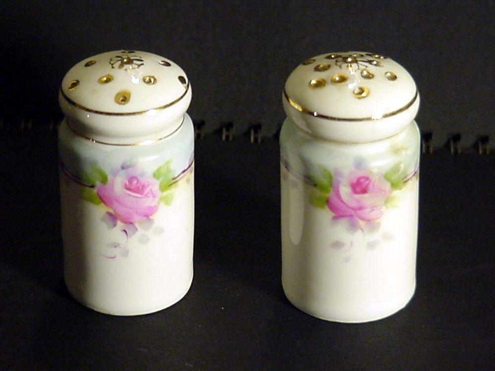 Antique Vintage Hand Painted Roses Salt Amp Pepper Shakers