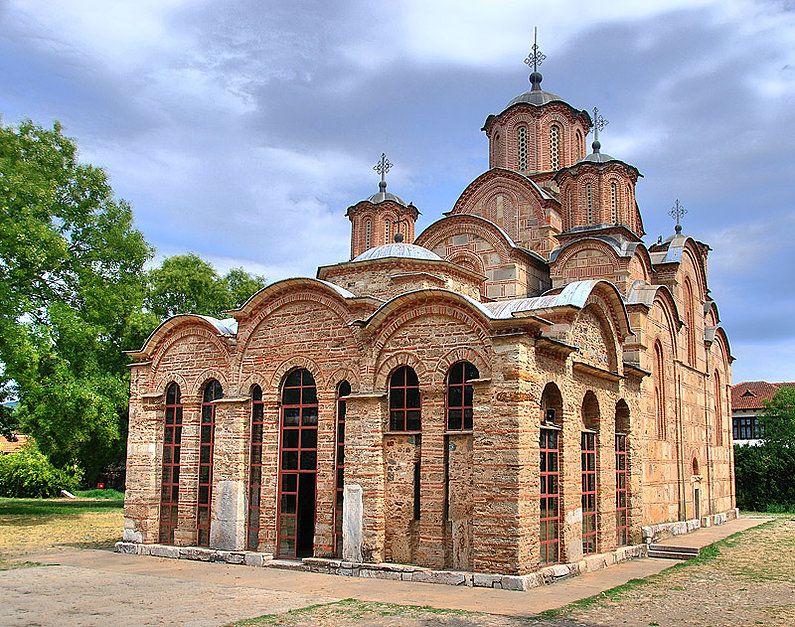 Late Byzantine brick and stone walls. Gracanica, Pristine