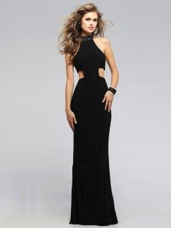 Sheath/Column Sleeveless Jersey Beading High Neck Floor-Length Dresses